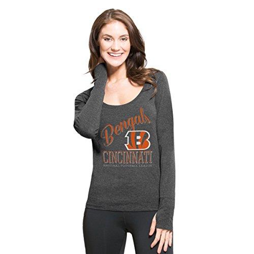 NFL Cincinnati Bengals Women's '47 Forward Dash Long Sleeve Tee, Shift Black, (University Womens Cap Sleeve T-shirt)