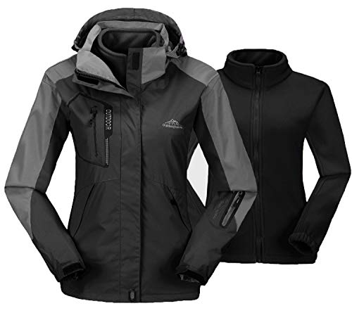 TBMPOY Women's Outdoor Mountain Waterproof Ski Jacket Fleece Windproof Rain Jacket(01 Black,us L)