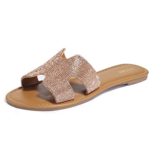 (FITORY Womens Flat Sandals Slides Rhinestones Slip On Outdoor Shoes Size 6-11 Rose Gold)