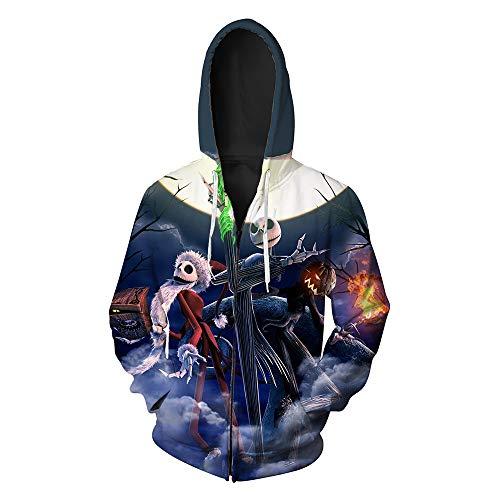 LeeQn Unisex Anime Cosplay 3D Pullover Print Hooded Sweatshirt Hoodie Coat Top Cremallera Noche de Halloween L
