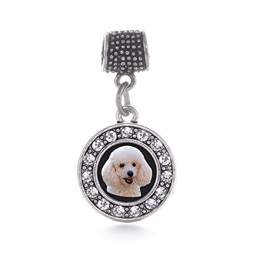 Inspired Silver - The Poodle Memory Charm for Women - Silver Circle Charm for Bracelet with Cubic Zirconia Jewelry