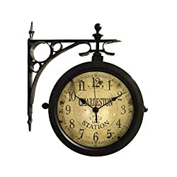 Outdoor Double Sided Clock Novelty Thermometer Double Sided Hanging Clock for Patio, Garage, Outdoor Area Antique Thermometer Look Train Station Clock Two Sided Clock for Indoors/Outdoors