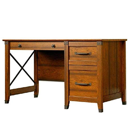 Antique Writing Desk with 3 Drawers Storage Metal Runners Lower Drawer Holds Hanging Files Letters Rustic Ferniture Home or Office Child's Bedroom Unique Appearance Cherry & eBook by BADA Shop (Ferniture)