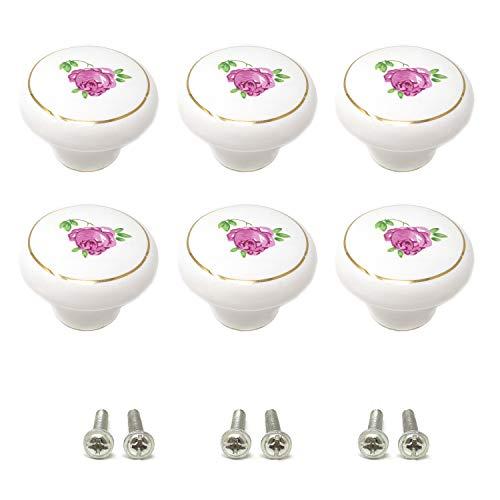 (yueton 6Pcs 1-1/2 inch Hand Painted Ceramic Knobs Kitchen Cabinet Retro Vintage Door Drawer Handles Pulls for Dresser Cupboard Wardrobe (Pink Rose))