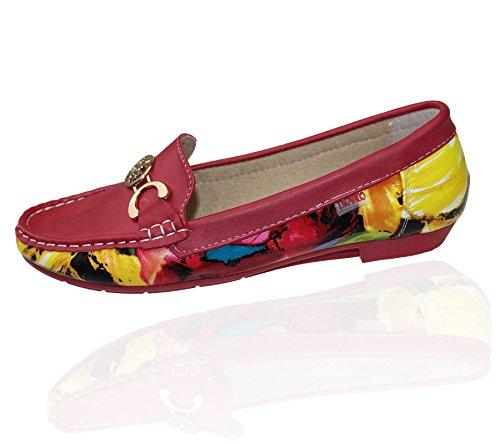 Frauen Ballerinas Mokassins flach Casual Büro Komfort Meine Damen Floral Summer Pumpen Espadrilles Schuhe Rot - Rot