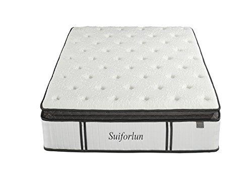 Suiforlun 12 Inch Pillow Top Gel Memory Foam and Independently Encased Coils Innerspring Hybrid Mattress,Queen