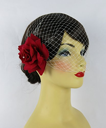 Bonitagirl Dark Red Velvet Rose Flower Hair Clip With Crystals And Birdcage Veil (White Birdcage Veil) Velvet Veil