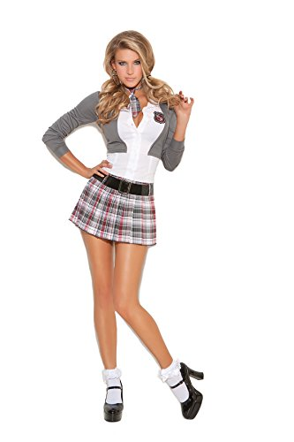 School Girl Detention Diva Halloween Roleplay Costume 3pc Set (S, Grey/White/Plaid) - Prep School Uniform Costume