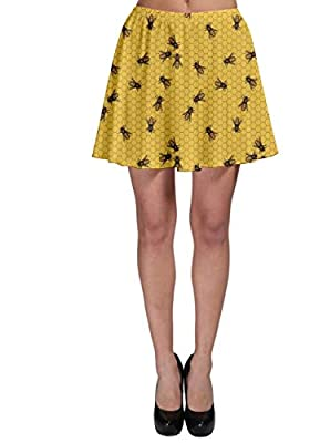 CowCow Womens Yellow Pattern The Bee on Honeycombs Skater Dress