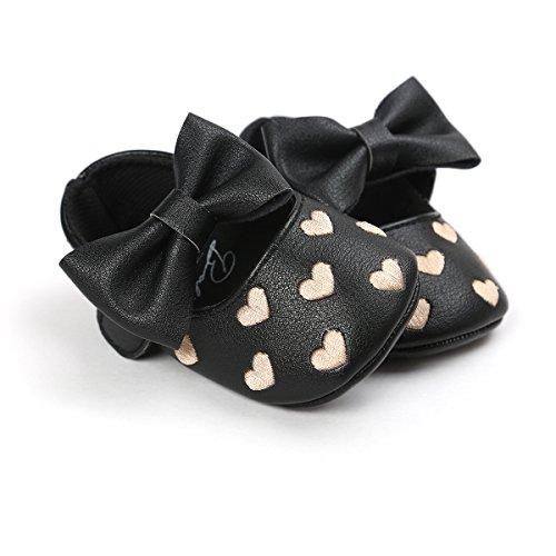 Zapatos de bebé,Auxma Niña Bowknot zapatos de cuero zapatillas antideslizante suave niño único para 0-18 meses Negro