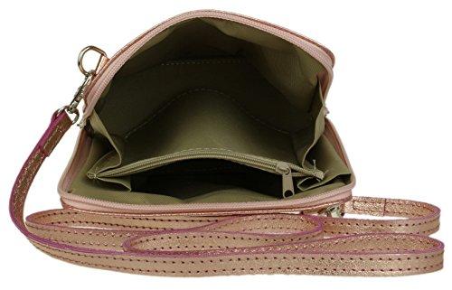 Cross Body Metallic Genuine HandBags Shoulder Leather Champagne Bag Girly nqBIF1