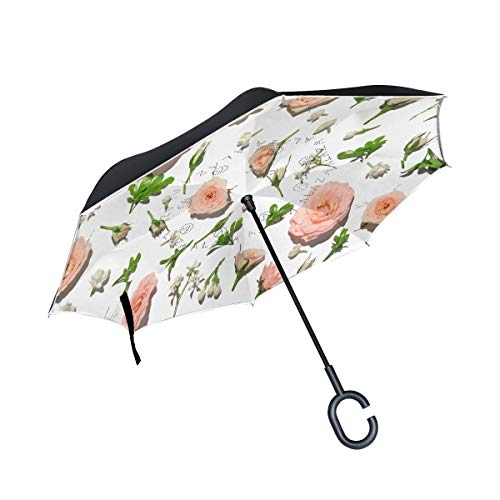 Reverse Umbrella Pink Rose Petal On White Background Inverted Umbrella Reversible for Golf Car Travel Rain Outdoor Black -