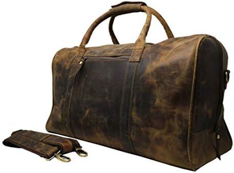 "20/"" Tan Leather Duffle Bag Weekend Overnight Travel Carryon Luggage Handbag"
