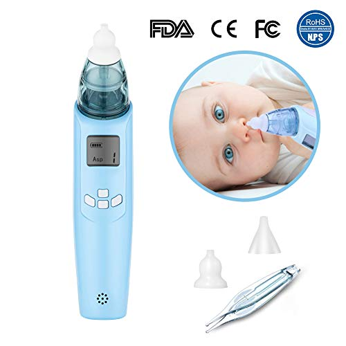 Electric Baby Nasal Aspirator - Safe Hygienic FDA Approval Battery Operated Nose Cleaner - 3 Strength Suction, 2 Size of Soft Nose Tips, LCD Screen,Flashing,Music, Nasal Tweezers for Newborns Toddlers