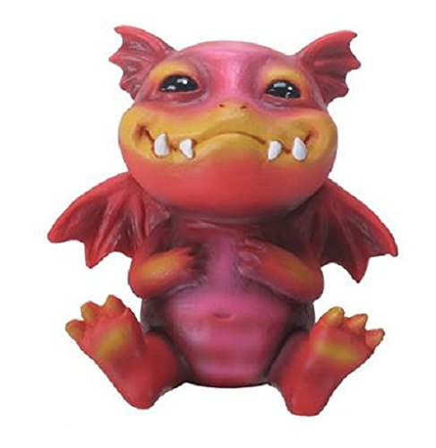 2.5 Inch Baby Dragon Bo Statue Figurine, Red and Orange Colored from YTC
