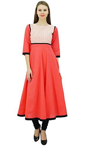 Bimba diseñador de las mujeres abocardada elegante Kurta Anarkali vestido de algodón personalizada Kurti larga túnica melocotón