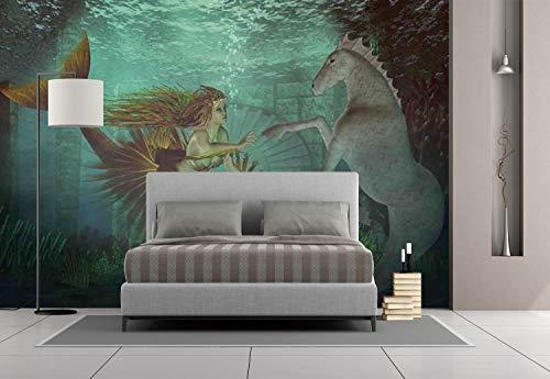 Large Wall Mural Sticker [ Mermaid,Mermaid Meets Seahorse Underwater World Fantasy Magical Fairytale Design,Aqua Green Amber ] Self-adhesive Vinyl Wallpaper / Removable Modern Decorating Wall Art -