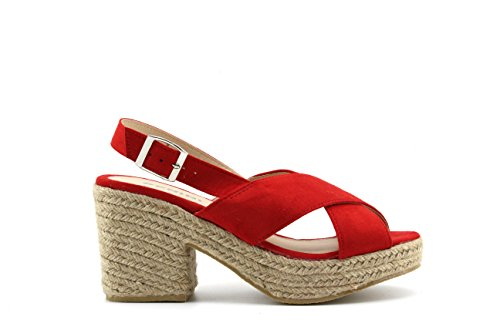 Sandalias Alpargata Modelisa Mujer Tacon Rojo TqBU8