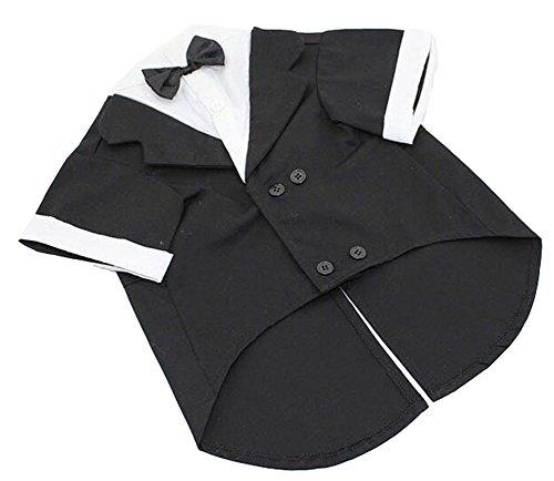 Vedem Pet Large Dog Wedding Groom Party Tuxedo Shirt Costume (L-L, Black)