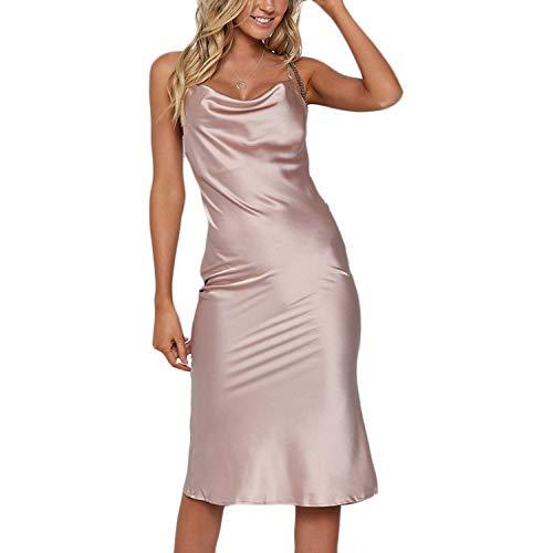 (Women's Sexy V Neck Spaghetti Strap Sleeveless Backless Satin Bodycon Midi Dress Party Club Silk Mermaid Pencil Dress Purple Pink)