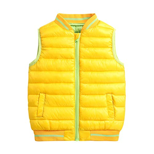 Gilet Warmer Girls Body Jacket Zipper Outerwear 8 Coats Vest BESBOMIG Autumn Year Children Down Winter Sleeveless Yellow for Waistcoat 3 Boys twqn15a1E