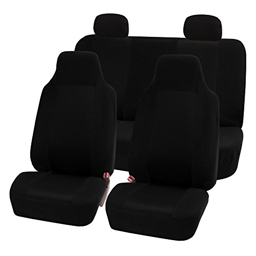 - FH Group FB102114 Classic Full Set High Back Flat Cloth Car Seat Covers, Solid Black w. Free Air Freshener- Fit Most Car, Truck, SUV, or Van