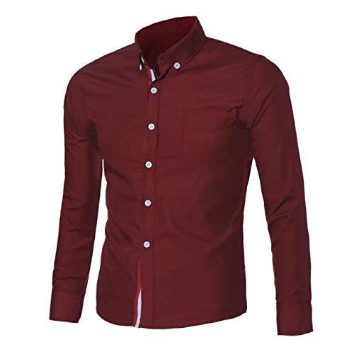 clearance sale!!ZEFOTIM Fashion Mens Luxury Long Sleeve Casual Slim Fit Stylish Dress Shirts RD/M(Medium,Red)