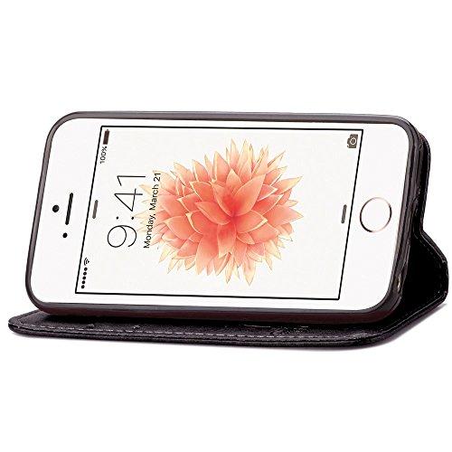 Voguecase® Pour Apple iPhone 5C Coque, Etui Housse Cuir Portefeuille Case Cover (Trèfle à quatre feuilles-Noir)de Gratuit stylet l'écran aléatoire universelle