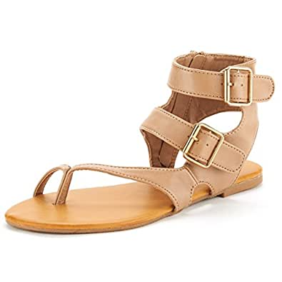 DREAM PAIRS TRENTCH Women's Fashion Gladiator Double Buckle Ring Toe Ankle Flat Summer Sandals Nude PU Size 6