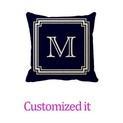 Notched Corner Frame Navy Blue Background Monogram Decorative Pillowcase Linen Burlap Throw Pillow Sham Cushion Cover 16 x 16