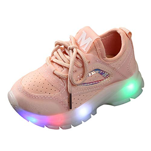 ModaParis Baby Boys Girls LED Light Up Sneakers, 1-6 Years Old, Kids Breathable Mesh Luminous Sport Running Shoes Pink (Summer Infant Bed Rail Pink)