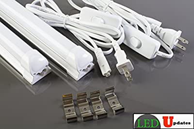 2x 4ft Integrated 20w LED tube shop light frosted garage basement with 6ft Power cable