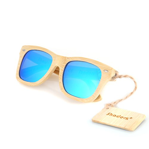 1 Wood Street - Bamboo Wood Wooden Polarized Sunglasses by Shaderz - Vintage Retro Classic 100% Natural Eco Friendly Handcrafted Lightweight Club Unisex Frames - Reflective Mirror W Ice Blue
