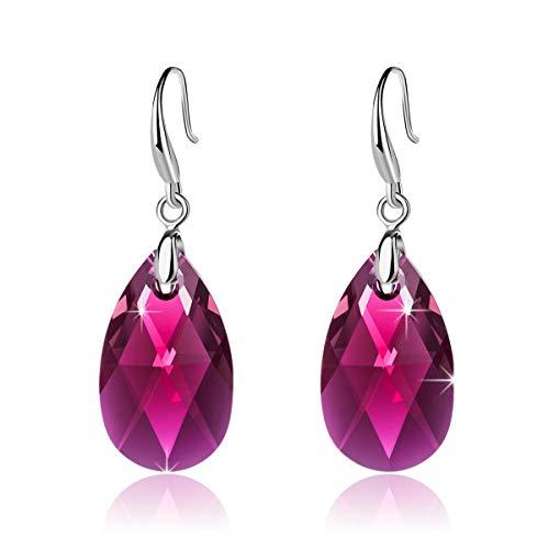 - EVEVIC Swarovski Crystal Teardrop Dangle Hook Earrings for Women Girls 14K Gold Plated Hypoallergenic Jewelry (Fuchsia)