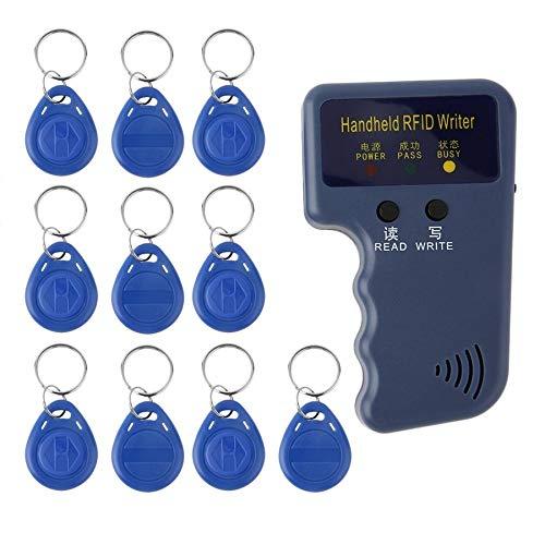 Handheld 125KHz EM4100 RFID Copier Writer Duplicator Programmer Reader + 10pcs EM4305 Rewritable ID Keyfobs Tags Card Ruirain-DE