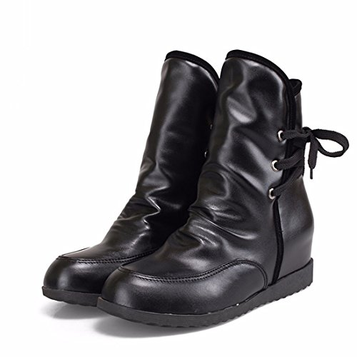 moda e Black altas de up Botas otoño la Terry código hembra invierno después de lace botines FwR1x7wqz