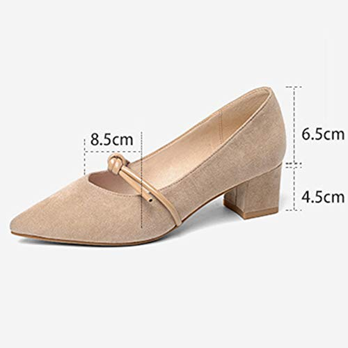 Female Taille Pointu Autumn Talon Shoes talon couleur Mi Bout Plat Femme Hwf Chaussures Couleur Pour on Noir 36 Slip À Abricot Fashion qUSfO