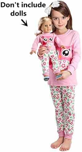 Girls Matching Doll&Toddler OWL 4 Piece Cotton Pajamas Kids Clothes Sleepwear ¡