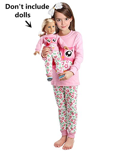 Babyroom Girls Matching Doll&Toddler Owl 4 Piece Cotton Pajamas Kids Clothes Sleepwear Size (Dolly And Me Pajamas)