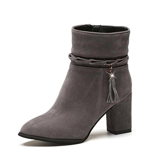 de e otoño gray invierno las modelos en lateral de Botas botas mujeres de moda flecos el cremallera tubo ante botas con de con las dwWR1g4qS