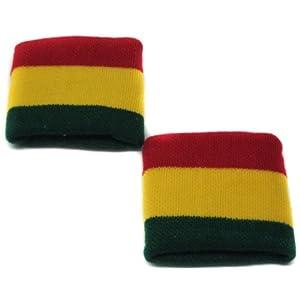 Rasta Wristband Sweatband Stripe Jamaica Reggae Beige (1 Pair)