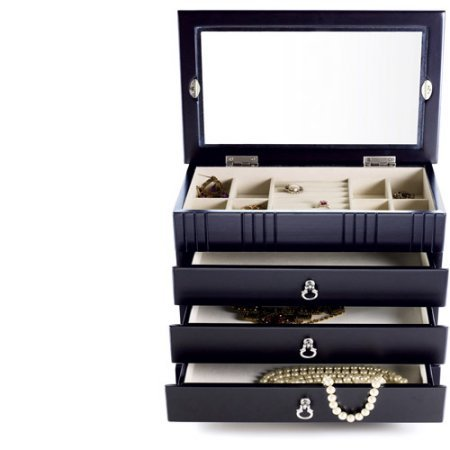 Glass Top Jewelry box, Armoires, 3 drawers, Black finish by Generic (Image #1)