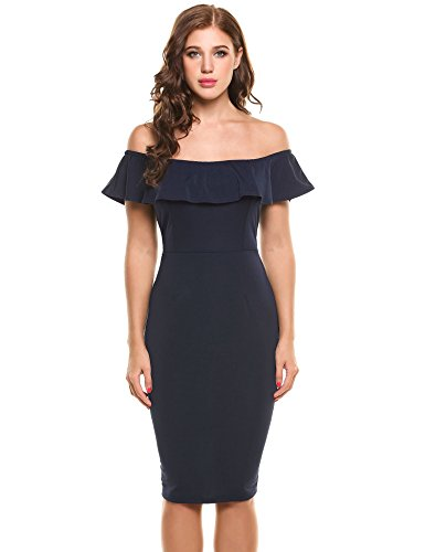 Zeagoo Damen Elegant Schulterfreies Kleid Bardot kleid Sommerkleid ...