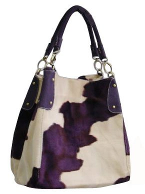 Purse Babe Sexy Animal Print Fall/Winter Fur-like Shouder Handbag-purple