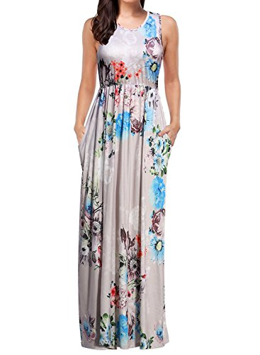 5d6900fd56bc31 Mulysaa Women s Summer Sleeveless O Neck Floral Print Casual Long Maxi  Dresses with Pockets