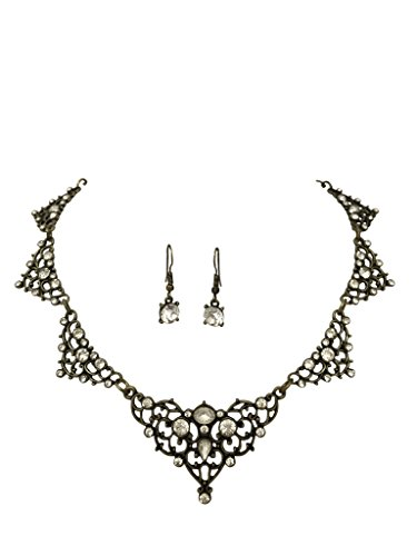 [Sweet Lace Look with Rhinestones Boutique Statement Necklace Earrings Set - Assorted colors (Vintage look Gold] (Little Girl Gypsy Costumes)