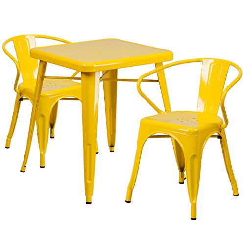 MFO 23.75'' Square Yellow Metal Indoor-Outdoor Table Set with 2 Arm Chairs