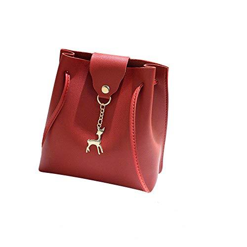 KIMODO Women Fashion Shoulder Bag Solid Deer Cover Crossbody Bag Phone Coin Bag Red