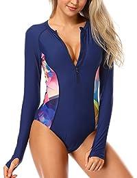 5e9e77c382391 Womens Long Sleeve Rash Guard UV UPF 50+ Sun Protection Printed Zipper  Surfing One Piece