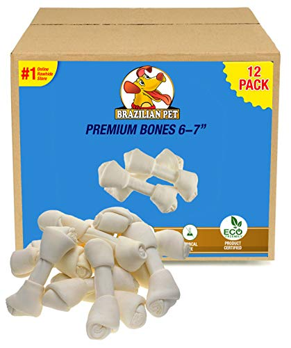 Brazilian Pet 6-7 Inches Premium Dog Bones, Chewing Dog Treat Made with The Best Rawhide, 100% Natural, No Additives, Chemicals or Hormones, Natural Grass-Fed, USDA/FDA Approved (12 Pack)